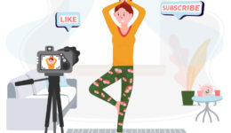 Video Blogger practice yoga. Streaming home workout. Vlogger have live sport activity in room. Woman records physical exercises indoor. Vector concept of Healthy lifestyle